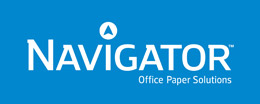 Navigator logo - white on blue background